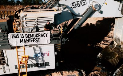 """Work disrupted on Adani's mine site – """"this is democracy"""" say activists"""