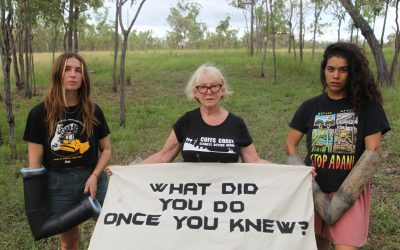 Three women stop work on Adani's rail line to stop more natural disasters