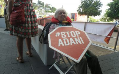 Adani HQ disrupted as 75 year old 'locks on'